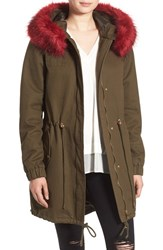 Bebe Women's Anorak With Faux Fur Ruff Olive