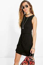Boohoo Knot Front Wrap Bodycon Dress Black