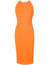 Victoria Beckham Fitted Midi Dress Yellow And Orange