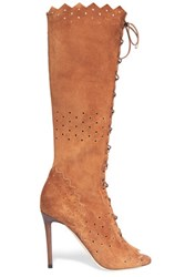 Jimmy Choo Davy Perforated Suede Peep Toe Knee Boots Tan