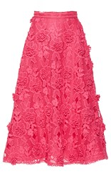 Costarellos Bloom Lace A Line Skirt Pink