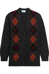 Prada Argyle Wool Cardigan Charcoal