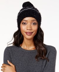 Charter Club Fair Isle Chenille Cuff Hat Only At Macy's Black Grey