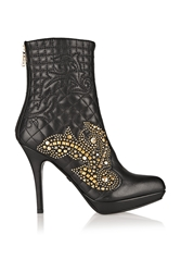 Versace Studded Quilted Leather Ankle Boots Black