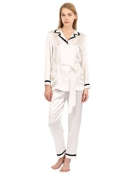 Loretta Caponi Silk Satin Pajama Top And Pants