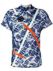 Christopher Kane Tape Detail Printed T Shirt Blue
