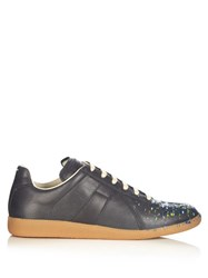 Maison Martin Margiela Replica Low Top Paint Effect Trainers Black