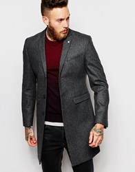 Noose And Monkey Wool Dogtooth Overcoat Black