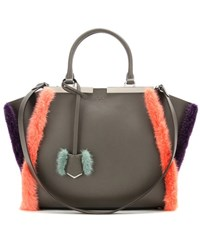 Fendi 3Jours Fur Trimmed Leather Tote Grey
