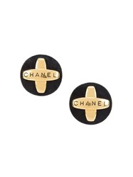 Chanel Vintage Logo Jumbo Clip On Earrings Metallic