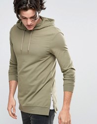 Asos Longline Muscle Fit Hoodie With Side Zips Vetiver Green