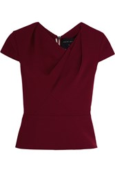 Roland Mouret Hato Gathered Wool Crepe Top Burgundy