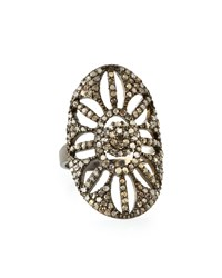 Bavna Champagne Diamond Oval Cutout Floral Cocktail Ring Women's