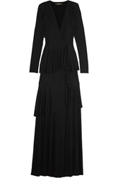 Roberto Cavalli Tiered Stretch Jersey Wrap Gown Black