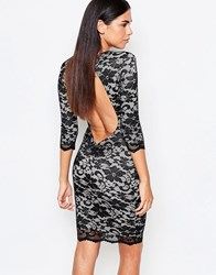 Honor Gold 3 4 Sleeve Lace Bodycon Dress With Cut Out Back Black Nude