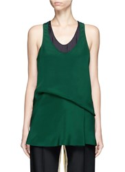 Cedric Charlier Draped Waist Tank Top Green