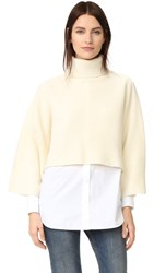 Edition10 Cropped Turtleneck Sweater Gardenia