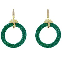 Latelita London Stingray Medium Hoop Earring Emerald Green Gold Green