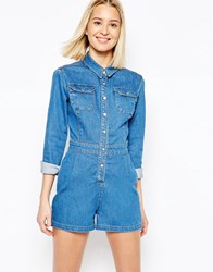 Asos Denim Fitted Western Playsuit In Mid Wash Blue Mid Wash Blue