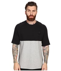 Converse Short Sleeve Color Block Crew Shirt Vintage Grey Heather Black Men's Short Sleeve Pullover Gray