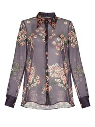 Rochas Daisy Print Silk Chiffon Blouse Purple Multi