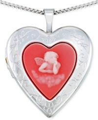 No Vendor Angel Heart Locket Pendant Necklace In Sterling Silver