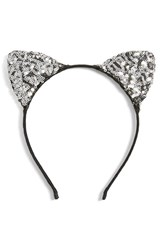 Cara Sequin Cat Ears Headband Silver