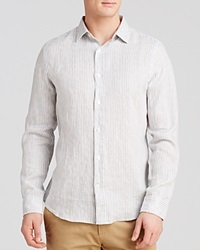 The Men's Store At Bloomingdale's Linen Stripe Button Down Shirt Regular Fit Bloomingdale's Exclusive Grey
