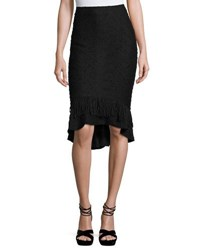 Nanette Nanette Lepore High Low Fringe Hem Knit Skirt Black