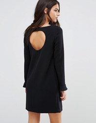 Baandsh Diary Dress With Cut Out Back Fluted Sleeves Black