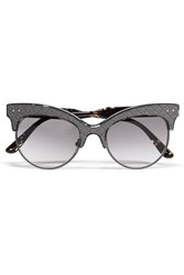 Bottega Veneta Cat Eye Acetate And Intrecciato Leather Sunglasses Gray