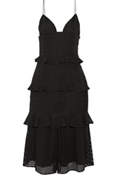 Cushnie Et Ochs Sofia Tiered Broderie Anglaise Cotton Midi Dress Black