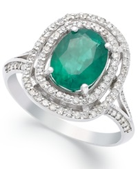 Effy Collection Effy Emerald 1 1 2 Ct. T.W. And Diamond 1 3 Ct. T.W. Oval Ring In 14K White Gold