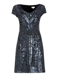 Untold Short Beaded Dress With Cap Sleeve Black