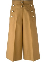 Sacai Luck Buttoned Wide Leg Culottes Brown