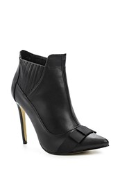 Lost Ink Arden Bow Front Stiletto Ankle Boots Black