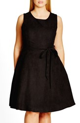 City Chic Plus Size Women's Faux Suede Fit And Flare Dress