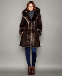 The Fur Vault Hooded Shearling Lamb Coat