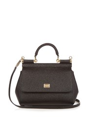 Dolce And Gabbana Sicily Mini Leather Cross Body Bag Black