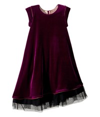 Junior Gaultier Velours Dress With Black Tulle Detail At Bottom Big Kids Purple