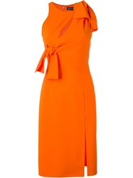 Versace Bow Stretch Jersey Cocktail Dress Yellow And Orange