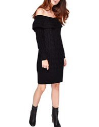 Miss Selfridge Cable Bardot Dress Black