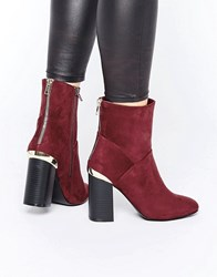 New Look Suede High Ankle Metal Detail Boot Red