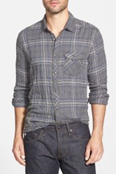 Jeremiah 'Murphy Puckered Plaid' Trim Fit Sport Shirt Gray