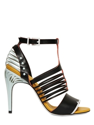 Fendi 105Mm Leather Cage Sandals Aqua