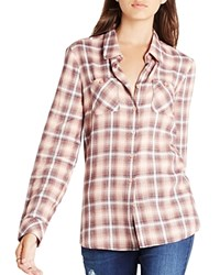 Bcbgeneration Plaid Button Front Shirt Pink Coral Combo