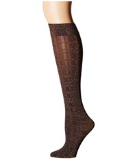 Wolford Ana Knee Highs Graphite Check Knee High Hose Brown