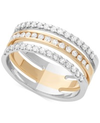 Macy's Diamond Three Row Channel Set Band 1 2 Ct. T.W. In 14K White And Yellow Gold Two Tone
