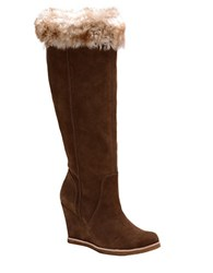 Splendid Tatum Suede And Faux Fur Knee High Boots Brown