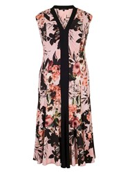 Chesca Rose Print Jersey Dress Apricot